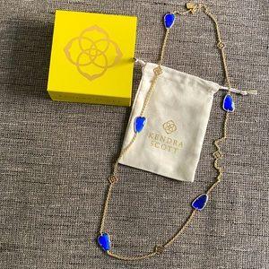 NWB Kendra Scott Long Necklace Blue Gold